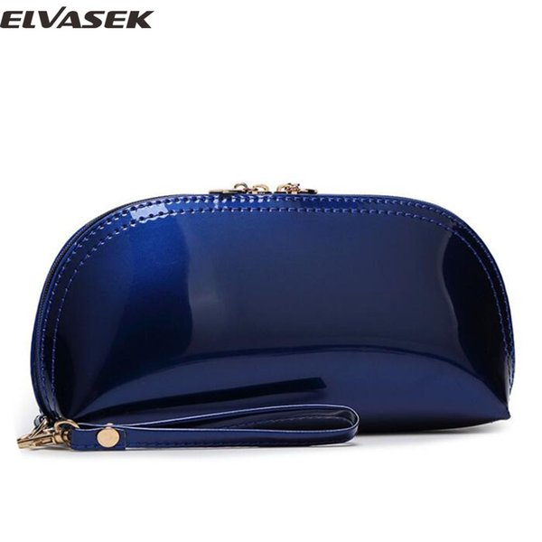Elvasek 2017 fashion women cosmetic case ladies travel bags makeup bag patent leather cosmetic case phone keeper bolsas clutch