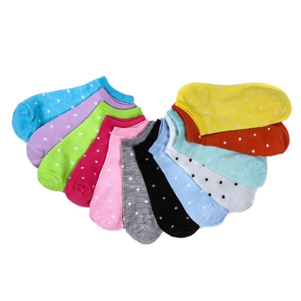 3 style fille Lady coeur féminin Dot chaussettes solides pour les femmes chaussettes coton mignon femmes bambou 5 paires
