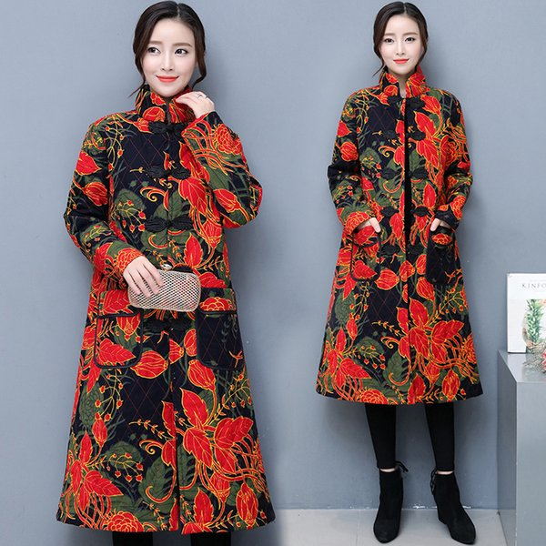 Autumn And Winter New Pattern Nation Wind Suit-dress Cotton-padded Jacket Chinese Style Restore Ancient Ways Printing Cotton Thickening Long
