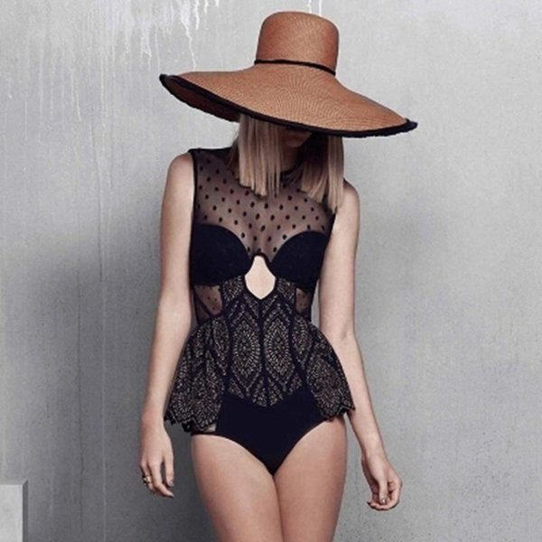 Wholesale- 2017 Newest Original Black One Piece Swimwear Women Embroidery Mesh Backless Swimsuit Transparent Lady Sexy Push Up Bathing Suit