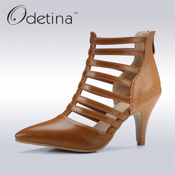 fe443892774a39 Odetina 2017 New Fashion Rome High Heel Gladiator Sandals Cut Outs Summer  Boots Ankle for Women Pointed Toe Shoes Big Size 31-48
