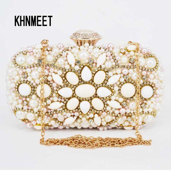 Fashion Beige Women Beaded Evening Bag Banquet Clutch Dreaming Wedding Purses Party Designer Handbags With Chain Clutch Bag 13