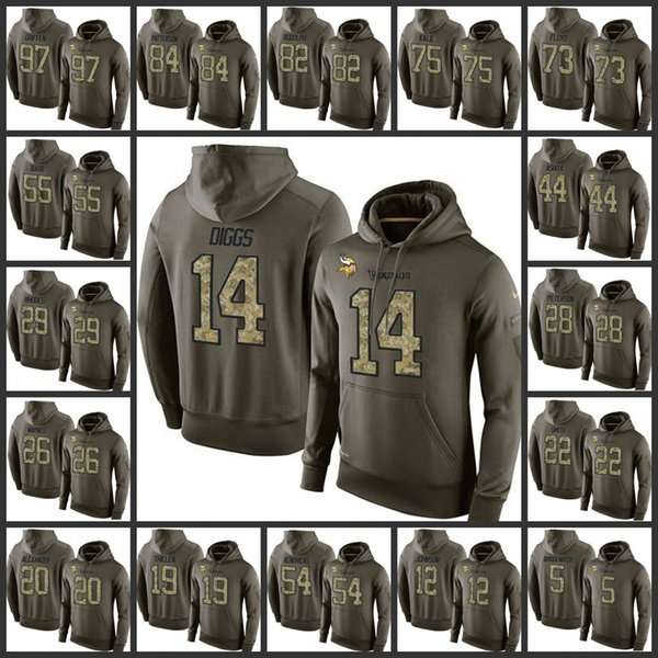 finest selection d1f1a eefd9 2018 Minnesota Vikings Embroidery Mens #14 Stefon Diggs 19 Adam Thielen 55  Anthony Barr 97 Everson Griffen Pullover Hoodie From Fusjersey, $25.72 | ...