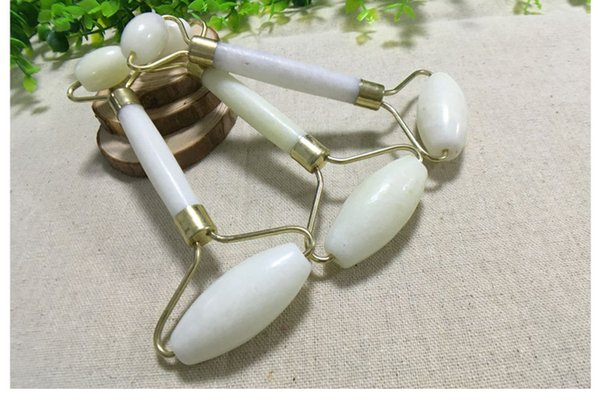 best selling Natural Jade Roller White Color Jade Beauty Device Facial Eye Massage Stick Jade Roller Push Face Device