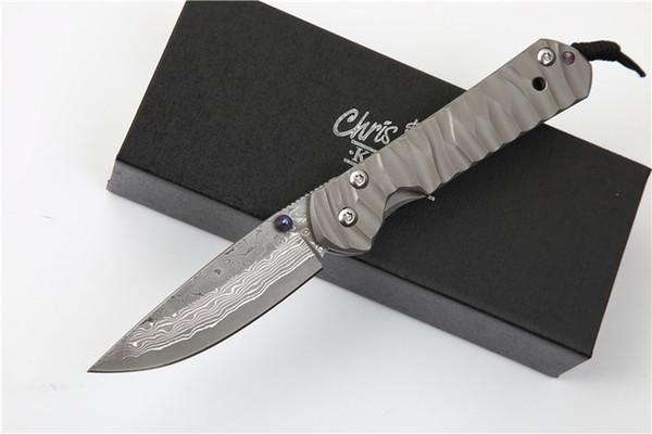 Бесплатная доставка Крис Рив Sebenza 21 небольшие ножи Дамаск лезвие титанового сплава ручка тактическое снаряжение edc инструмент подарок для человека