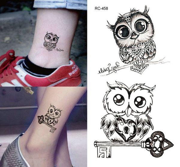 tattoo stickers lovely owl 10.5*6cm waterproof black new men women body stickers