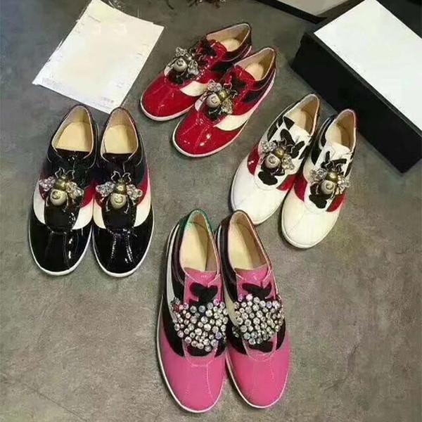 Caída de la primavera de las mujeres de oro plata Glitter rosa Genuino charol Joyería de Lujo Rhinestones bordado low top Sneakers Entrenadores
