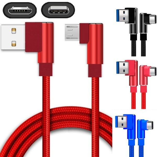 Quick Charge Type c Micro Usb Cable 1m 2m 3m 90 Degree Braided Alloy Usb C Cables for samsung s7 s8 s9 plus htc lg android phone