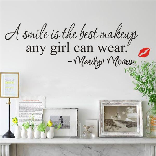 wandaufkleber Ein lächeln ist das beste make-up Wandaufkleber Marilyn Monroe Zitate 8129 Vinyl Kunstwandhauptdekor Aufkleber lippen