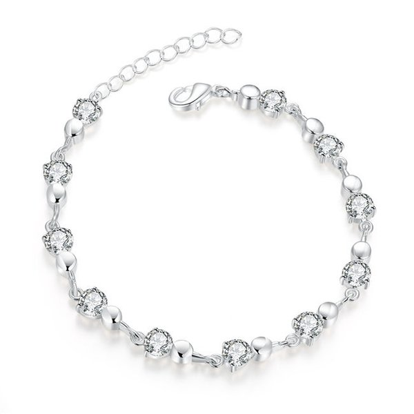 Rounded jewel buckle chain sterling silver plated bracelet ; High quatity fashion men and women 925 silver bracelet SPB372