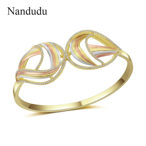nandudu three tones gold two flower cz bangle for women brass cubic zirconia accessories bracelet gift b1123