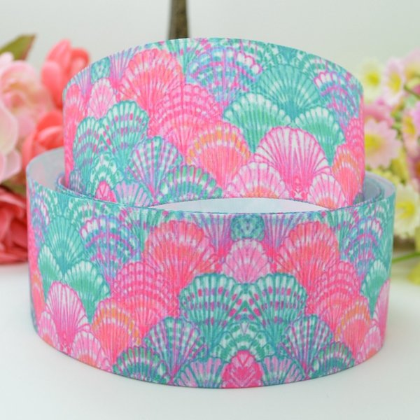 "3 yards Pink /& teal floral printed 1/"" grosgrain ribbon by the yard DIY hair bow"