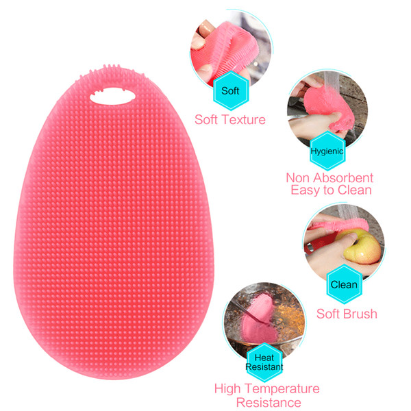 Silicone Dish Scrubber Kitchen Tool for Dishwashing Food Grade Cleaning Silicone Brush for Pot Pan Dish Bowl Fruit Vegetable