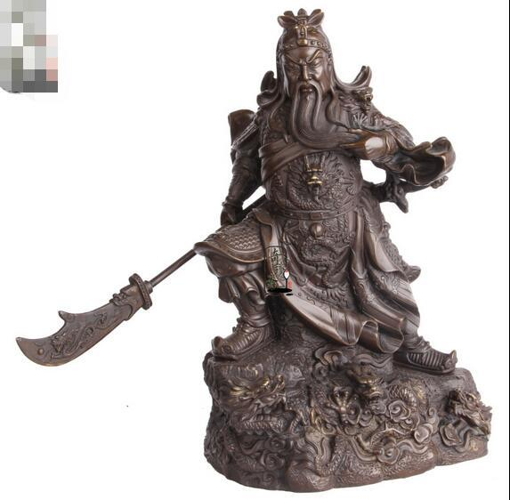 China Brass Copper Nine Dragon Guan Gong Guan Yu Warrior God Hold Sword Statue