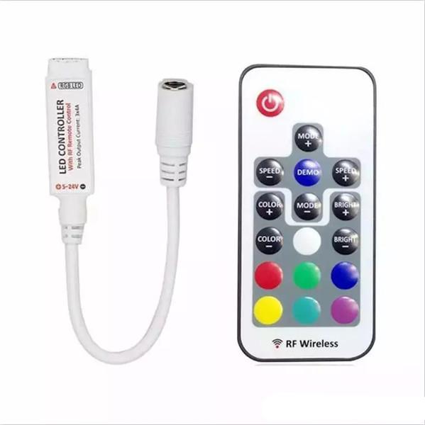 17 teclas DC12-24V mini RF inalámbrico led RGB control remoto con 4 pines hembra para controlar la tira de led SMD 5050 iluminación y módulo