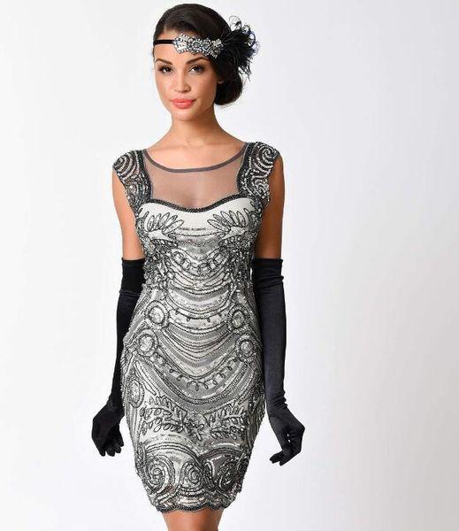 A buon mercato Abiti vintage 1920 neri per le donne non manica flapper frange grande abito Gatsby Champagne breve sexy spedizione gratuita