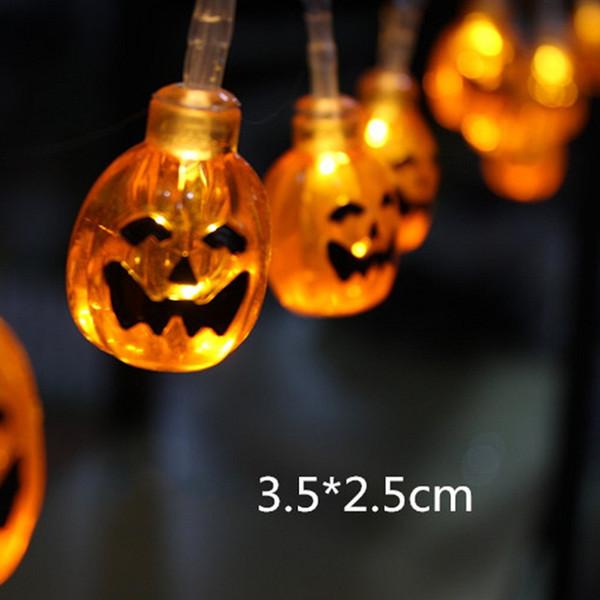 Compre 2018 10 Led Pendurado Decoracao De Halloween Aboboras Fantasma Aranha Cranio Levou Cordas Luzes Lanternas Lampada Para Diy Fontes Do