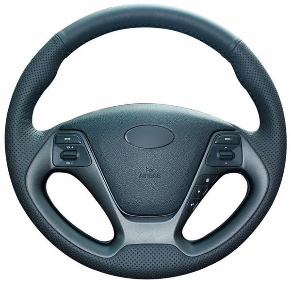 Leather Steering Wheel Hand-stitch on Wrap Cover For Kia K3 Cerato Cerato Ceed