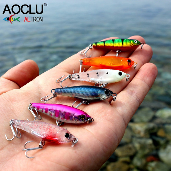 AOCLU wobblers Super Quality 11 Colors 38mm Hard Bait Minnow Crank Popper Stik Fishing lures Bass Fresh Salt water 14# VMC hooks Y18100906