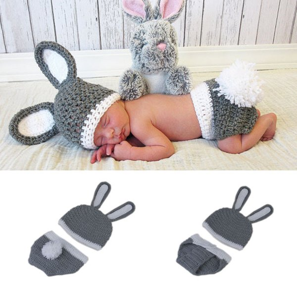 Gray&White Easter Rabbit Newborn BABY Photography Props Knitted Baby Unisex Photo Props Crochet Hat&Diaper for Baby