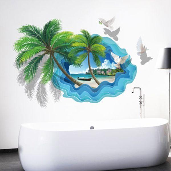 Acquista Adesivi Murali Di Paesaggi Di Spiaggia Di Sabbia Albero Di  Mongolfiera Uccelli Di Volo Di Mare Adesivo Murale Poster Arte Soggiorno ...