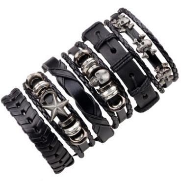 Real Leather 6in1 set BANGLE BRACELET Skull Pentagon loops pub bar Bangles Personalized trendy wrist jewelry fashion Bangles Bracelets