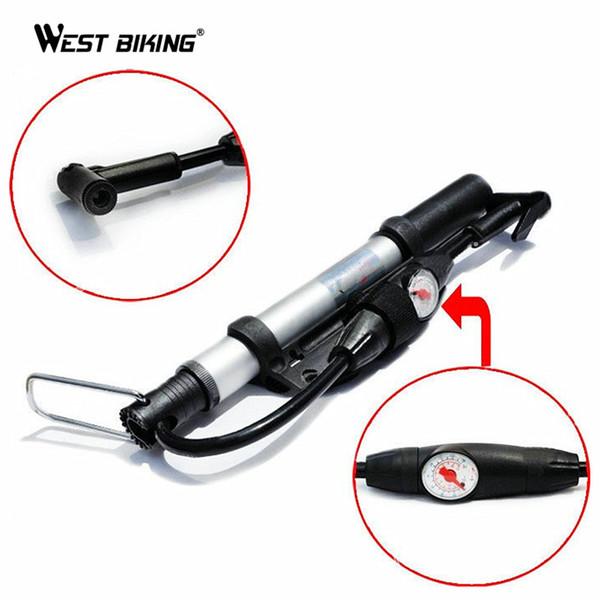WEST BIKING Schrader Presta Valve Mini Portable Mountain Bike Barometer Pumps MTB Bicycle Cycling Air Bomba Bicicleta Tire Tools