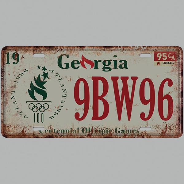 Georgia 9BW96 3D Emboss Car Plates Number USA License Plate Garage Plaque Metal Tin Sign Bar Decoration Vintage Home Decor