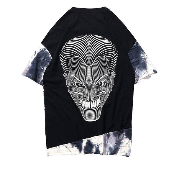 Tie Dye Ripped Patchwork T Shirts 2018 Summer Mens Hip Hop Printed Casual Streetwear Tops Tees Fashion Cotton Tshirts