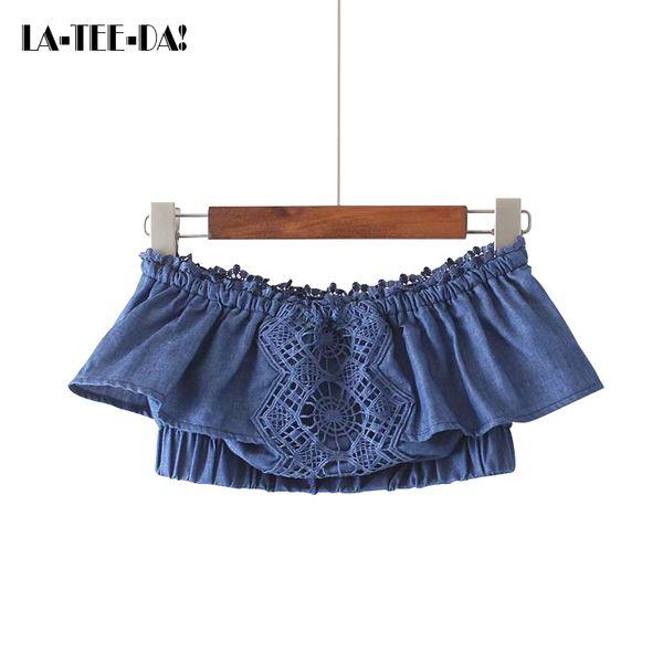 LTD1198061 New Denim Strapless Camis Women Lace Crop Tops Lady Pullovers Female Sleeveless Slash Neck Short Vestidos