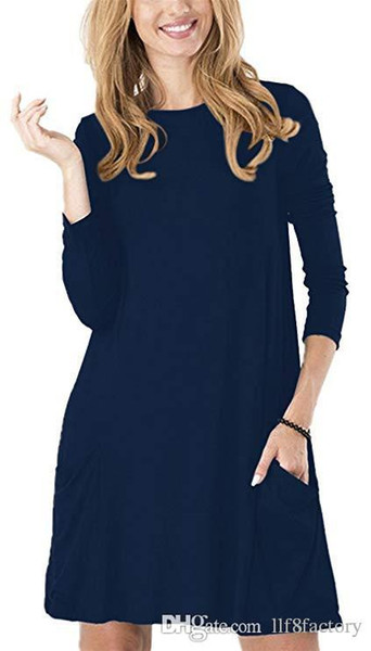 classic casual women's solid color long-sleeved with pockets simple T-shirt loose wild Ten colors European and American dress for all p