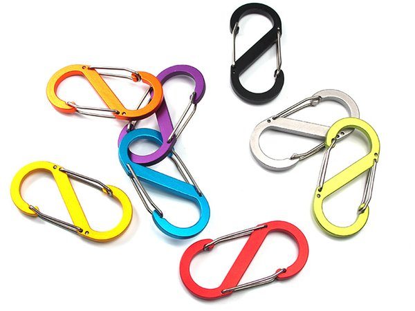 100pcs Mixed Color bold S-type carabiner 8-button buckle large aluminum buckle two-way backpack hook buckle with High-quality H296