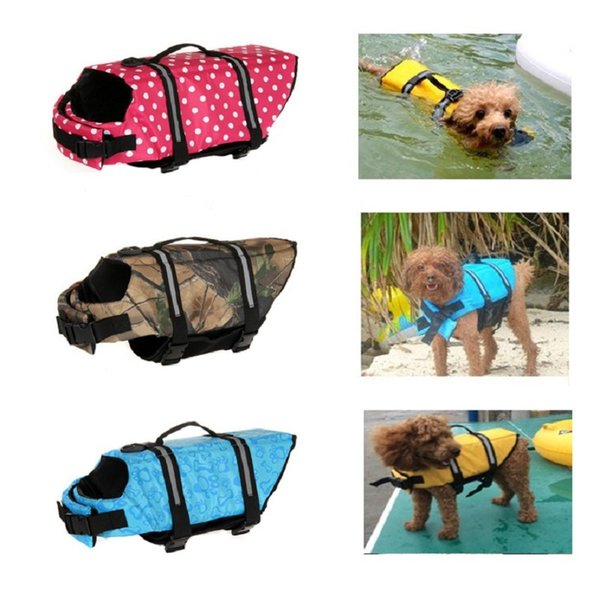 Pet Dog Life Jacket Safety Clothes for Dogs Life Vest Collar Harness Saver Pets Swimming Preserver Swimwear Clothes for Summer