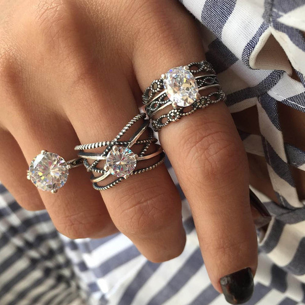 RAVIMOUR 3pcs Big Cubic Zircon Wedding Knuckle Rings for Women Silver Color Crystal Finger Ring Set Boho Antique Female Jewelry