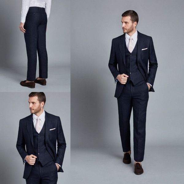 2019 Handsome Mens Suits Three Pieces Black Slim Fit Groom Tuxedos for Weddings Best Man Suit Top Quality Business Men Suits