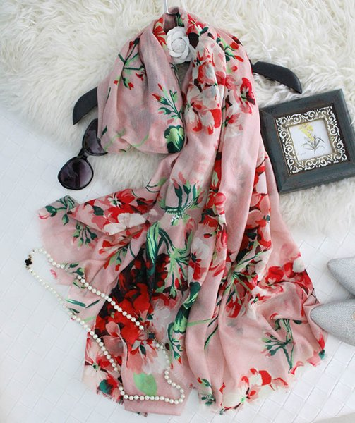 Thick Muffler Winter Cashmere Scarves For Women Floral Print 200cm Soft Comfortable Wool Scarfs ans Shawls Wraps Hijabs Pashimina 3 Colors