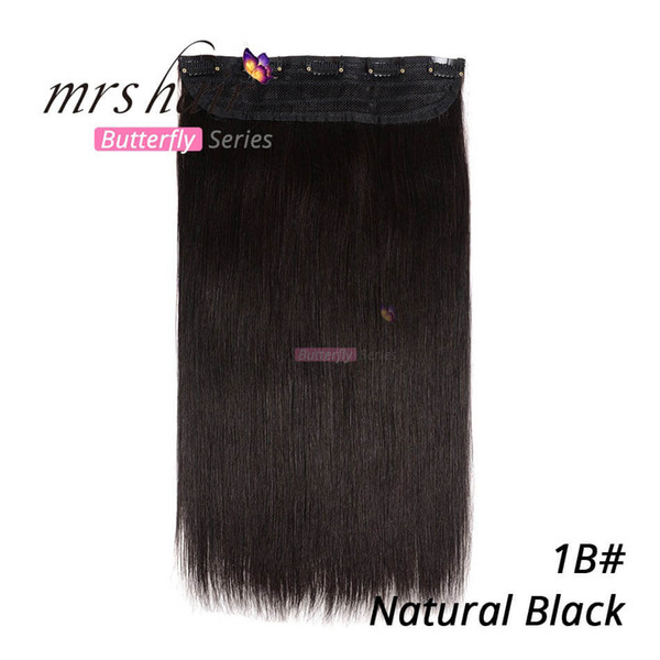 90g 100g 1pcs/set 18 22inch Remy Human Hair Clip in Hair Extensions #1B/Off Black Straight hair free Shipping