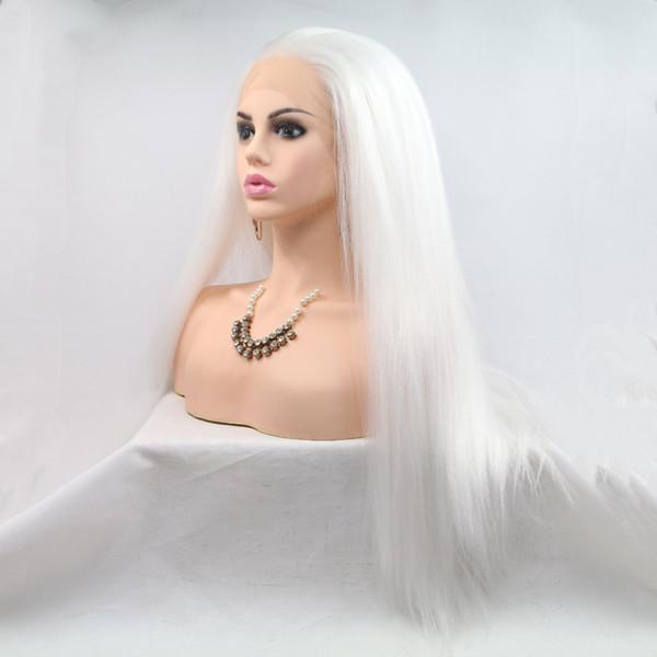 Бесплатная доставка белый цвет длинные Яки кудрявый прямые синтетические полные парики косплей термостойкие синтетические кружева перед парики для женщин Моды
