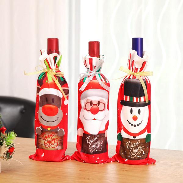 Couverture de bouteille de vin de Noël ornements de Noël cadeau 2019 Père Noël bonhomme de neige Couverture de bouteille de Noël Décor QW8553