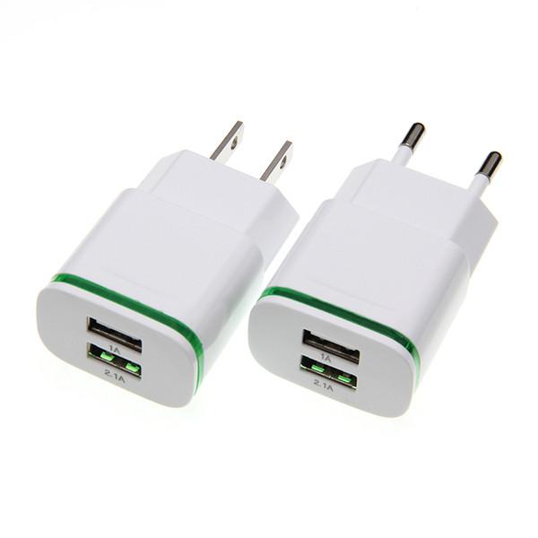 Adaptateur mural pour téléphone portable USB pour câble USB avec chargeur USB US EU 5V 2A pour iPhone 6 7 Périphérique de chargement pour Samsung 50pcs / lot