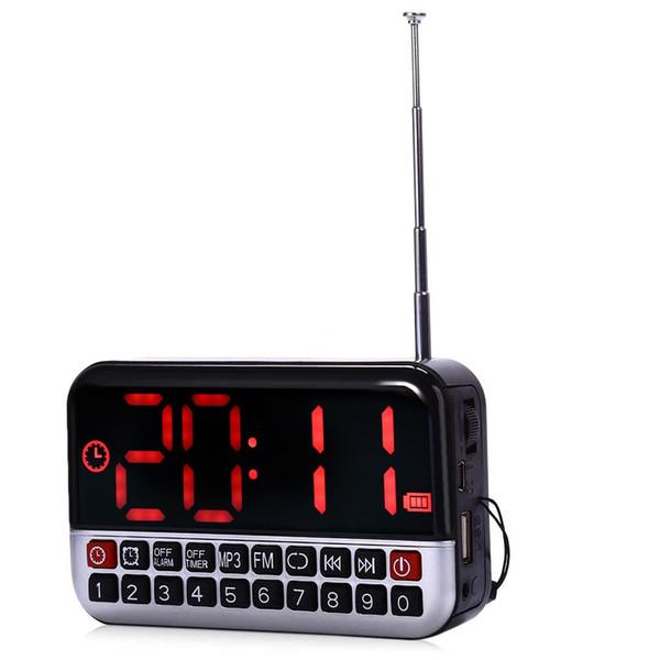 L-80 HD Pantalla LCD Portátil Multi-funcional Altavoz LED Digital Despertador Radio FM TF / Tarjeta Micro SD MP3 Música Altavoz
