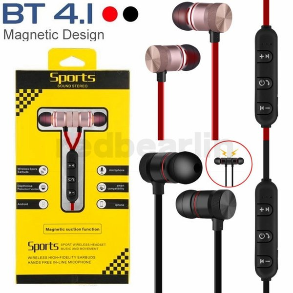 Auricular magnético inalámbrico Bluetooth manos libres auricular BT4.1 deportes estéreo en el oído auricular de música con micrófono para iphone 7 8x samsung