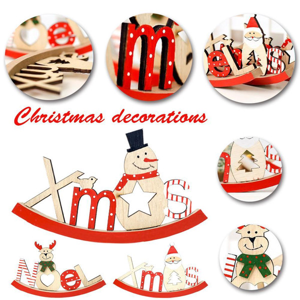 2018 Decorazioni natalizie per la casa Natale Ornamento in legno Lettere dipinte Forma Ornamento Xmas Decoration Supplies Y18102609