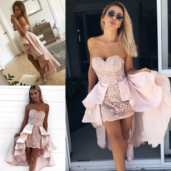 Modern Sweetheart Lace Hi-Lo Homecoming Dress 2019 Detachable Skirt Party Dress Newest Design Ruffles Cocktail For Juniors Prom Party Gowns