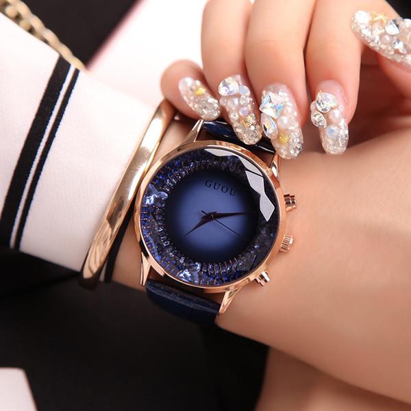 GUOU Femmes Montres Top Marque De Luxe Diamant Montre Femmes Montres En Cuir Véritable Dames Montre Horloge Connectez-vous féminin Y1890304
