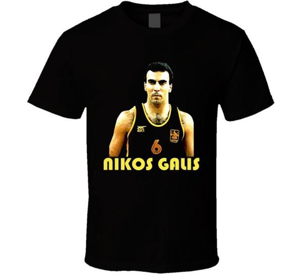 Nikos Galis Griechisch Basketballer T-Shirt Neue Tops 2018 Druck Buchstaben Männer T-Shirt Männlich Vorbaumwolle Kleidung 100% Baumwolle