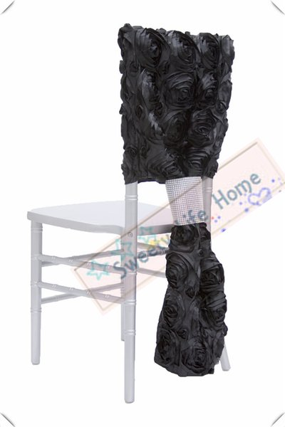 Black Free shipping 3D Satin rosette chiavari chair covers/ Wedding banquet outdoor chair covers polyester caps rose chair seats