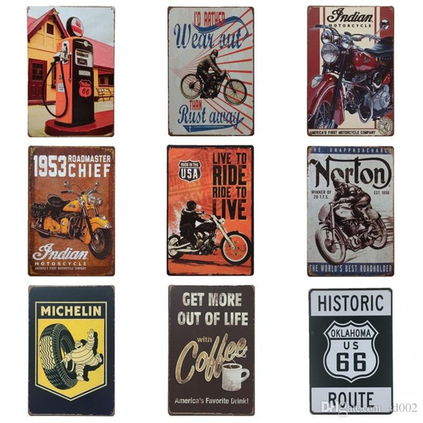 Motorcycle Telephone Booth Tin Posters Get More Out Of Live 20*30cm Tin Sign Coffee Wall Art Iron Paintings New Arrival BB