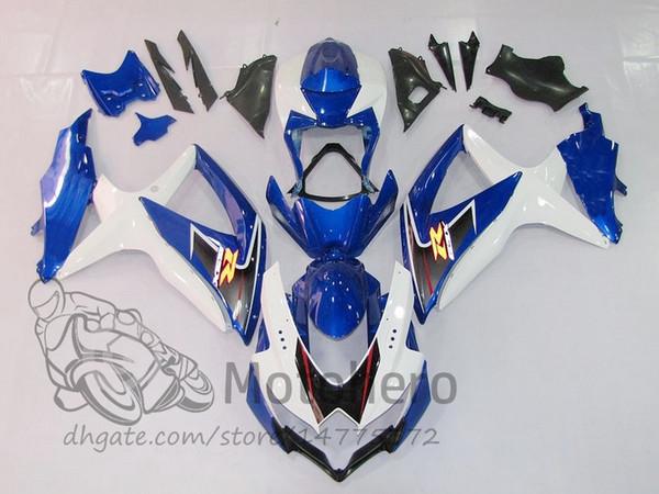 100% Fit Einspritzkörper FÜR SUZUKI GSXR600 2008 2009 2010 GSXR750 08 09 10 weiß blau schwarz verkleidungen GSXR 600 750 K8 Verkleidung kits motohero