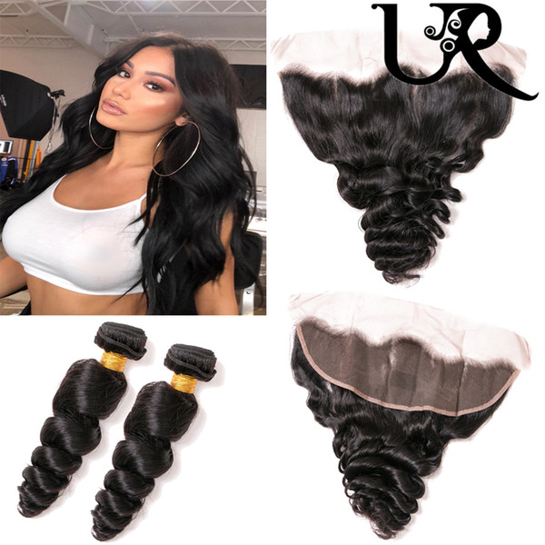 8A Cambodian Malaysian Brazilian Loose Hair Wave 3 Pcs With 13x4 Lace Closure Natural Colour Wholesale Cheap Virgin Hair 8-28inch